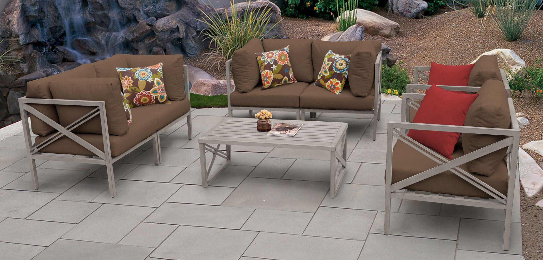 Carlisle 7 Piece Sofa Set with Cushions Cushion Color: Cocoa