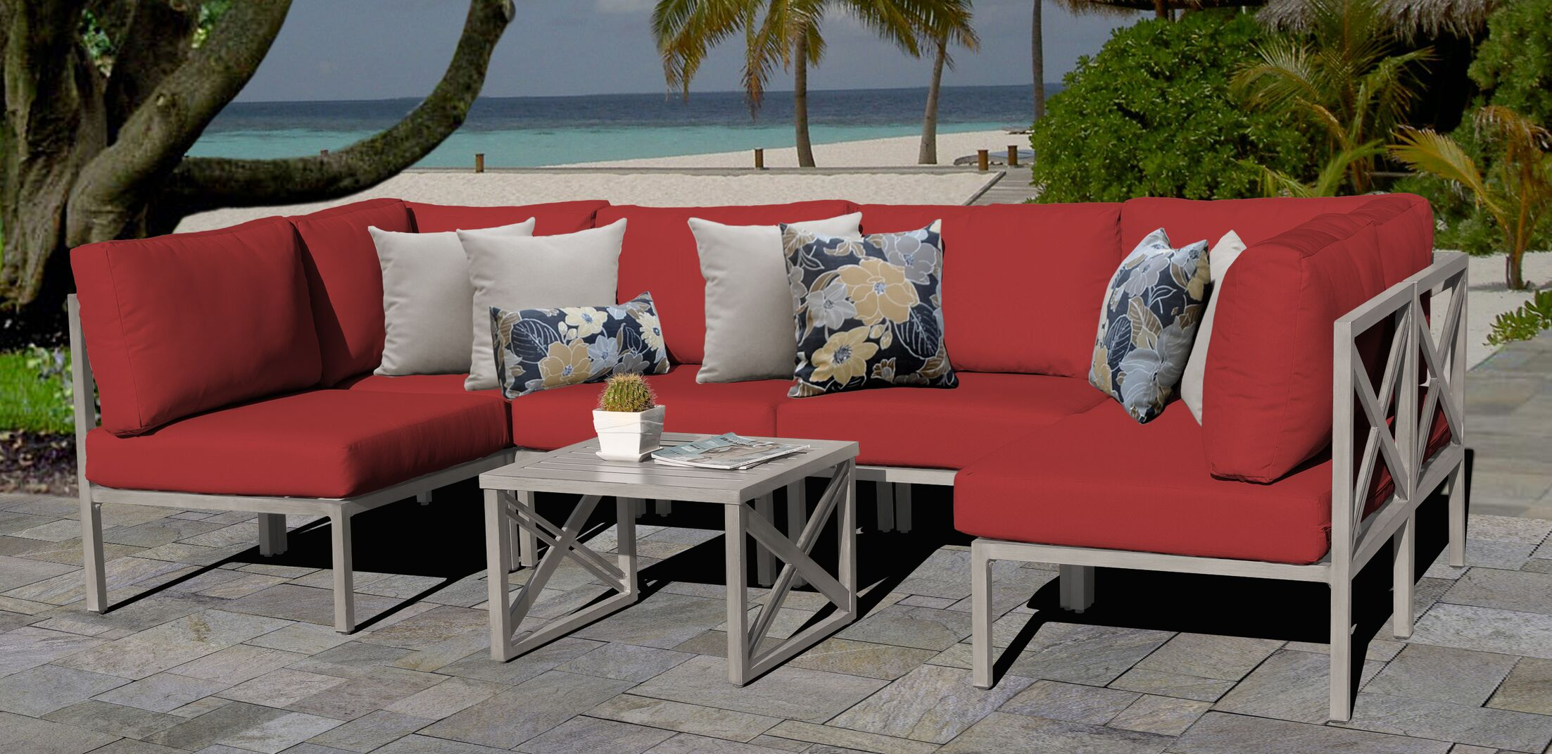 Carlisle 7 Piece Outdoor Sectional Set with Cushions Cushion Color: Terracotta