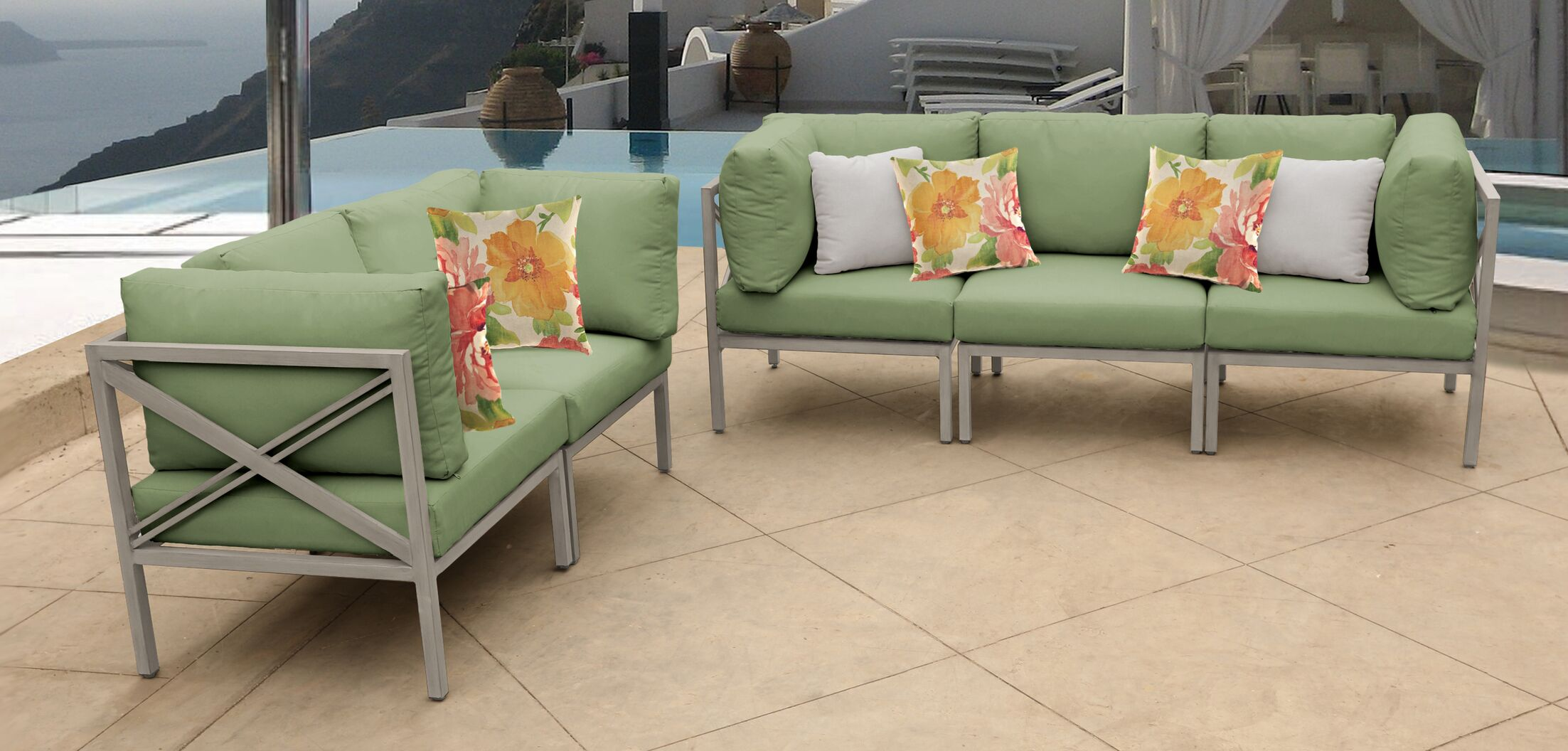 Carlisle 5 Piece Outdoor Sectional Set with Cushions Cushion Color: Cilantro