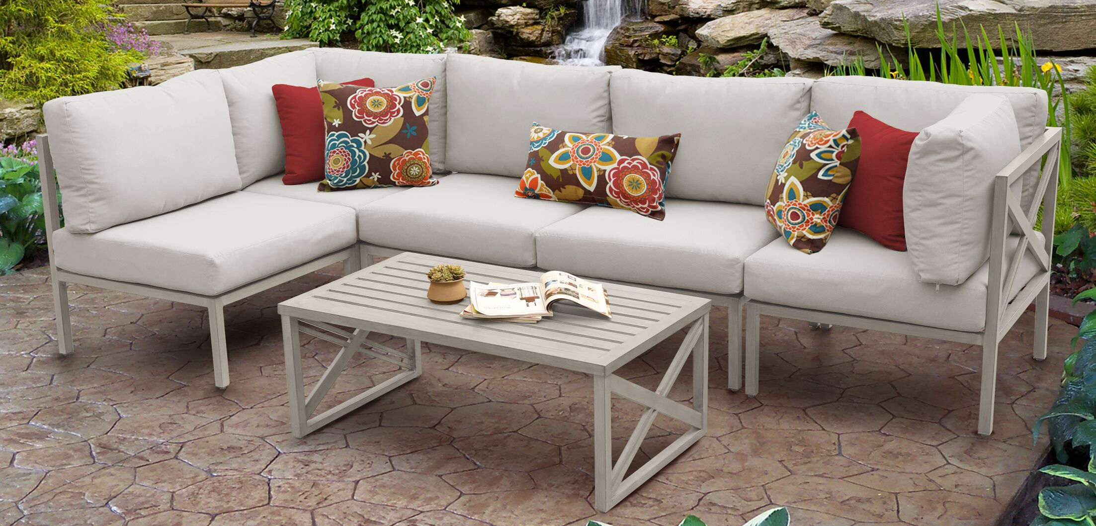 Carlisle 6 Piece Outdoor Sectional Set with Cushions Cushion Color: Beige