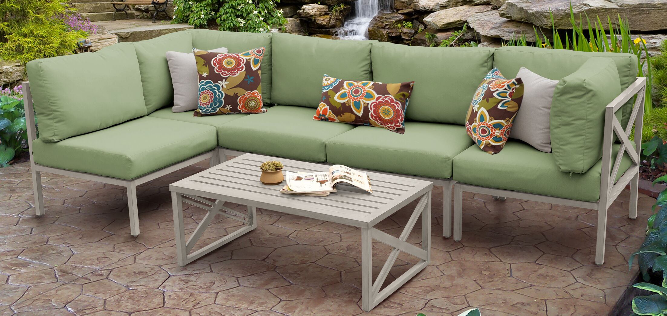 Carlisle 6 Piece Outdoor Sectional Set with Cushions Cushion Color: Cilantro