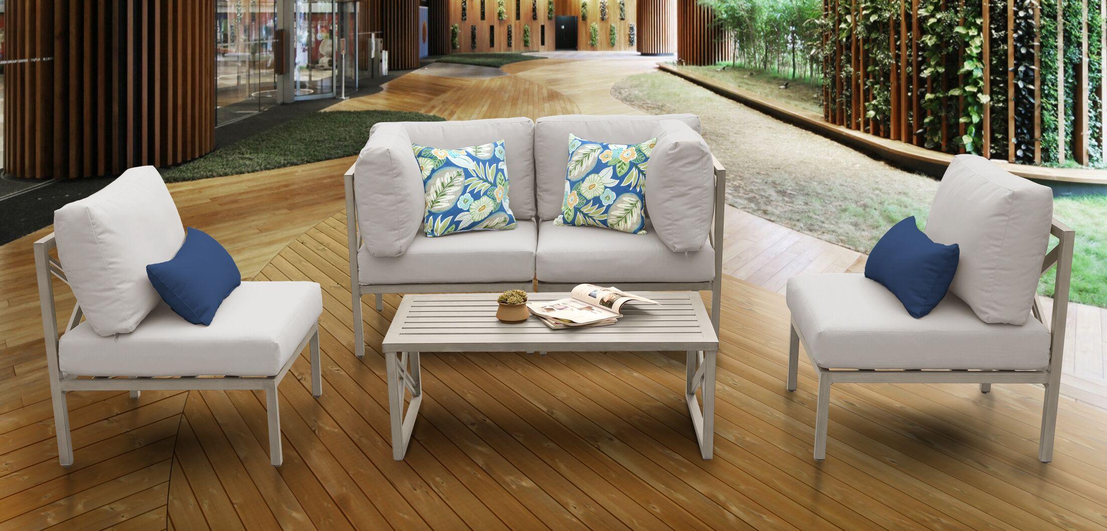 Carlisle 5 Piece Sofa Set with Cushions Cushion Color: Beige