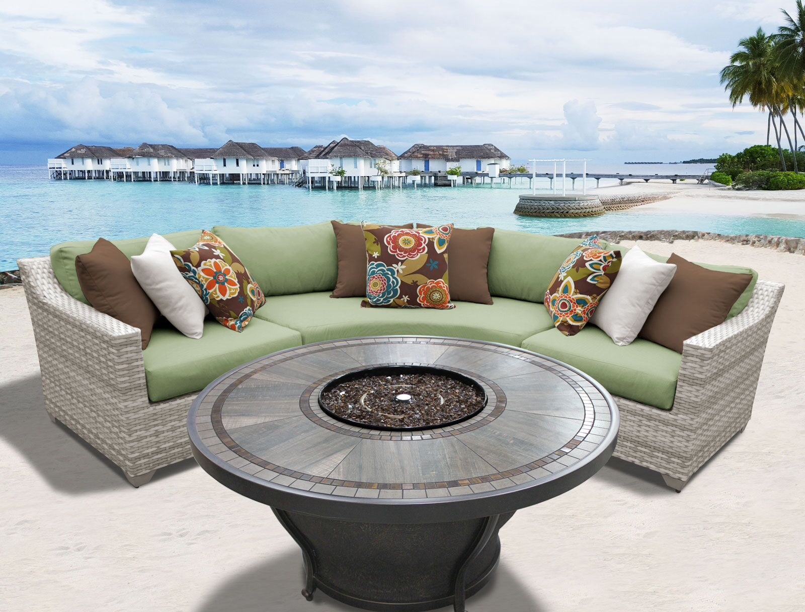 Ansonia 5 Piece Rattan Sectional Set with Cushions Fabric: Cilantro