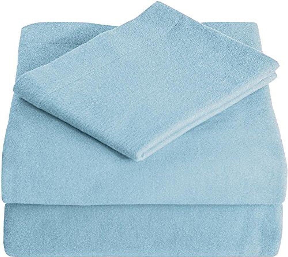 Super Soft 100% Cotton Flannel Sheet Set Size: Twin XL, Color: Light Blue