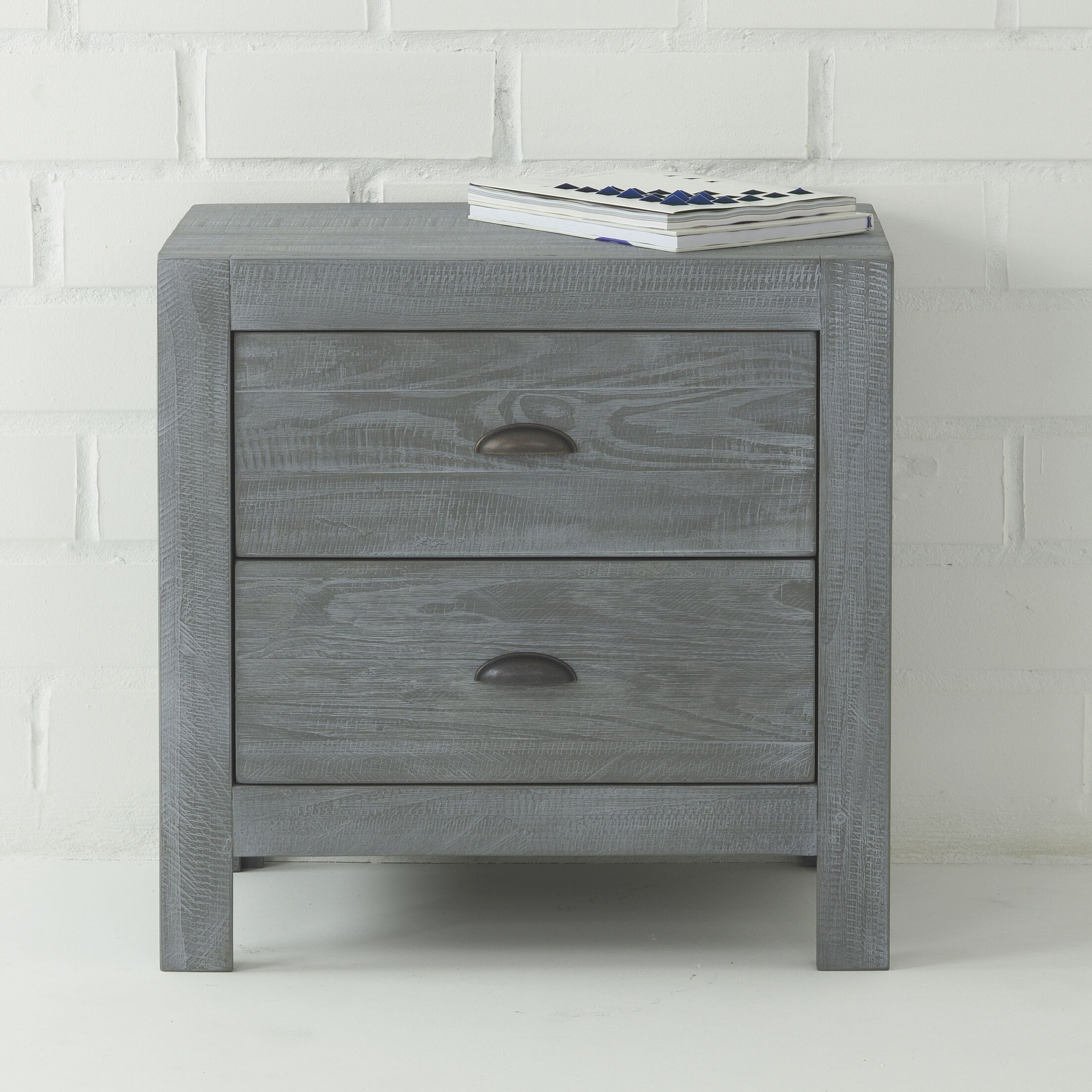 Montauk 2 Drawer Nightstand Color: Rustic Gray