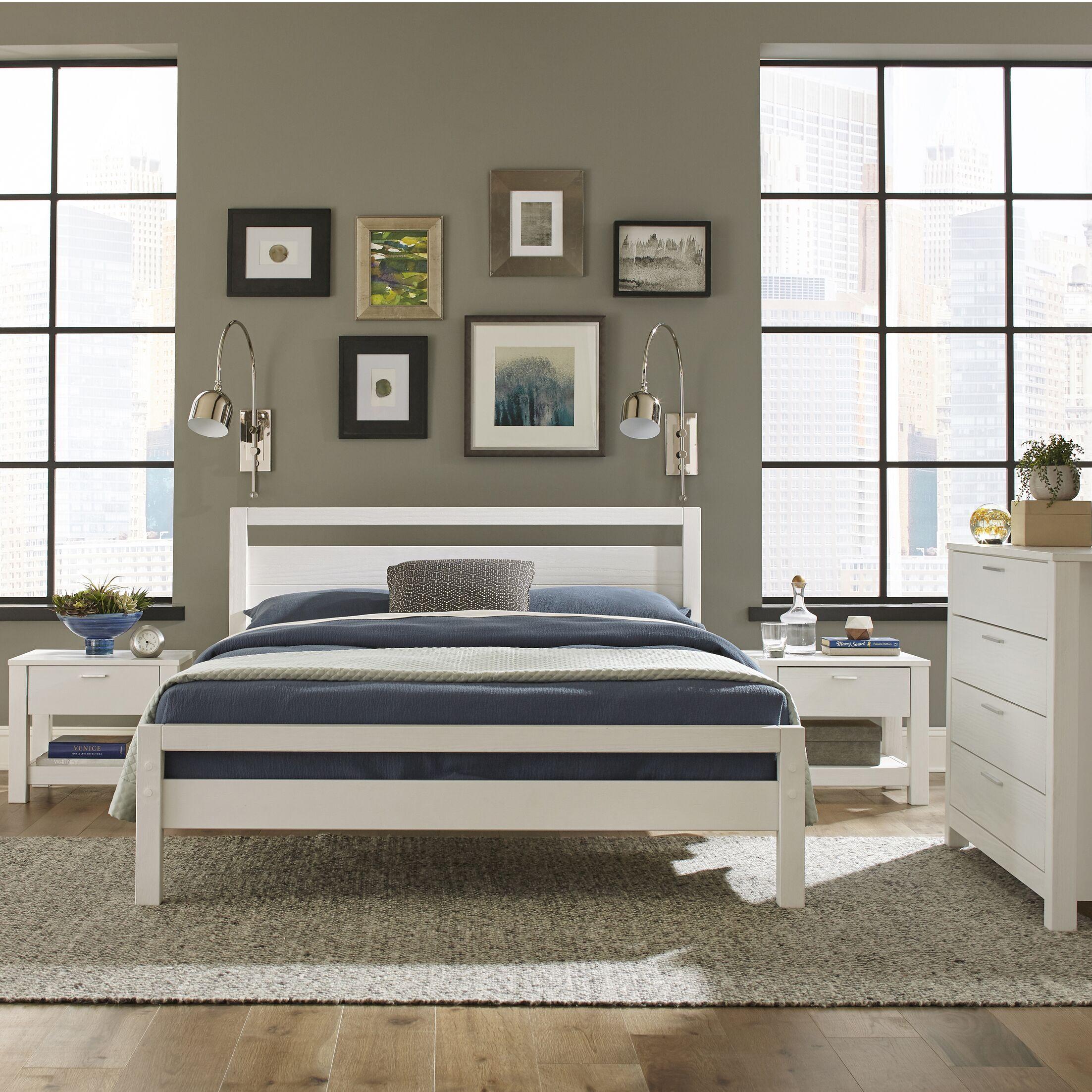 Loft Queen Platform Bed Color: Brushed White