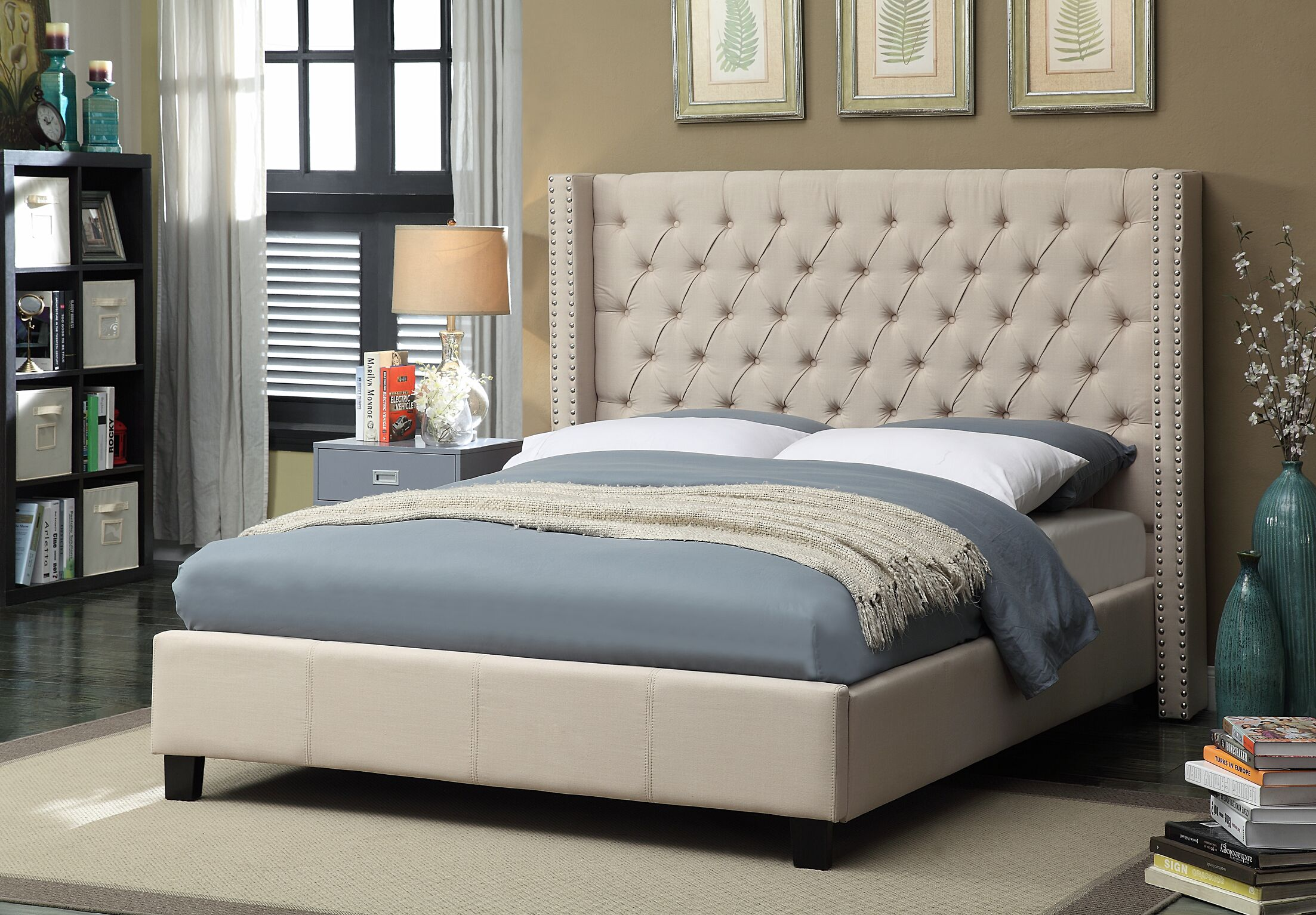 Park Upholstered Platform Bed Color: Beige, Size: Queen
