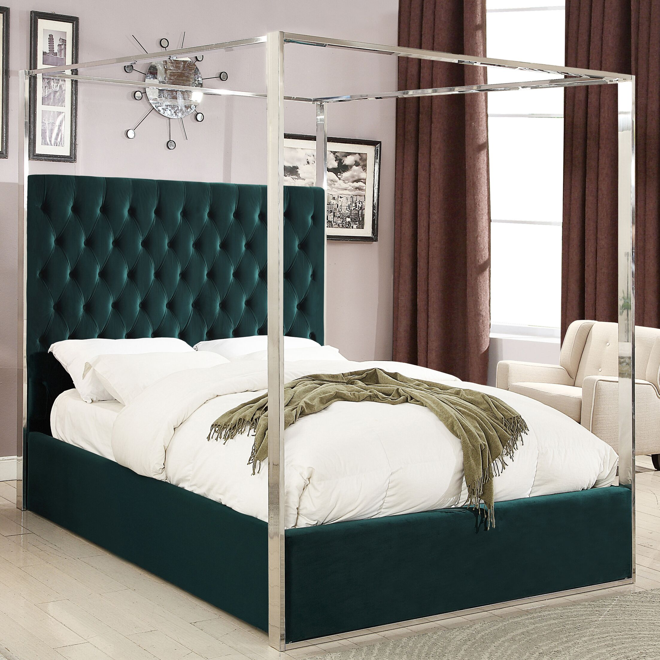 Pamala Upholstered Canopy Bed Size: Queen, Color: Green