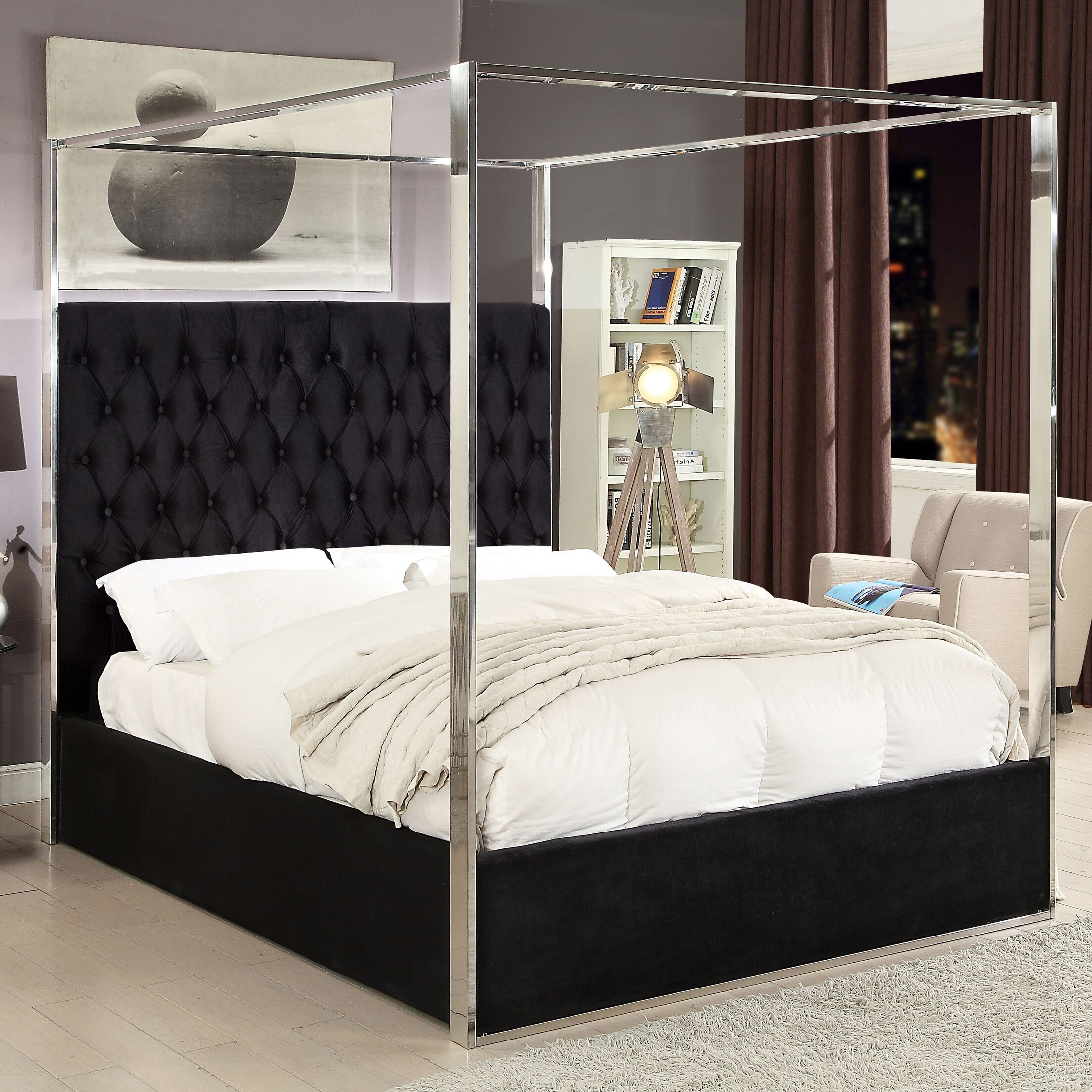 Pamala Upholstered Canopy Bed Size: Queen, Color: Black