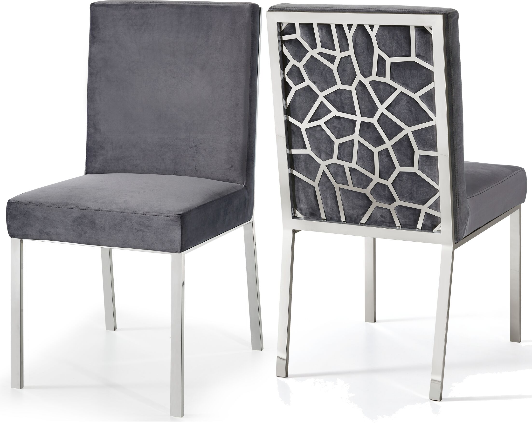 Hop Upholstered Dining Chair Upholstery Color: Gray, Base Color: Silver