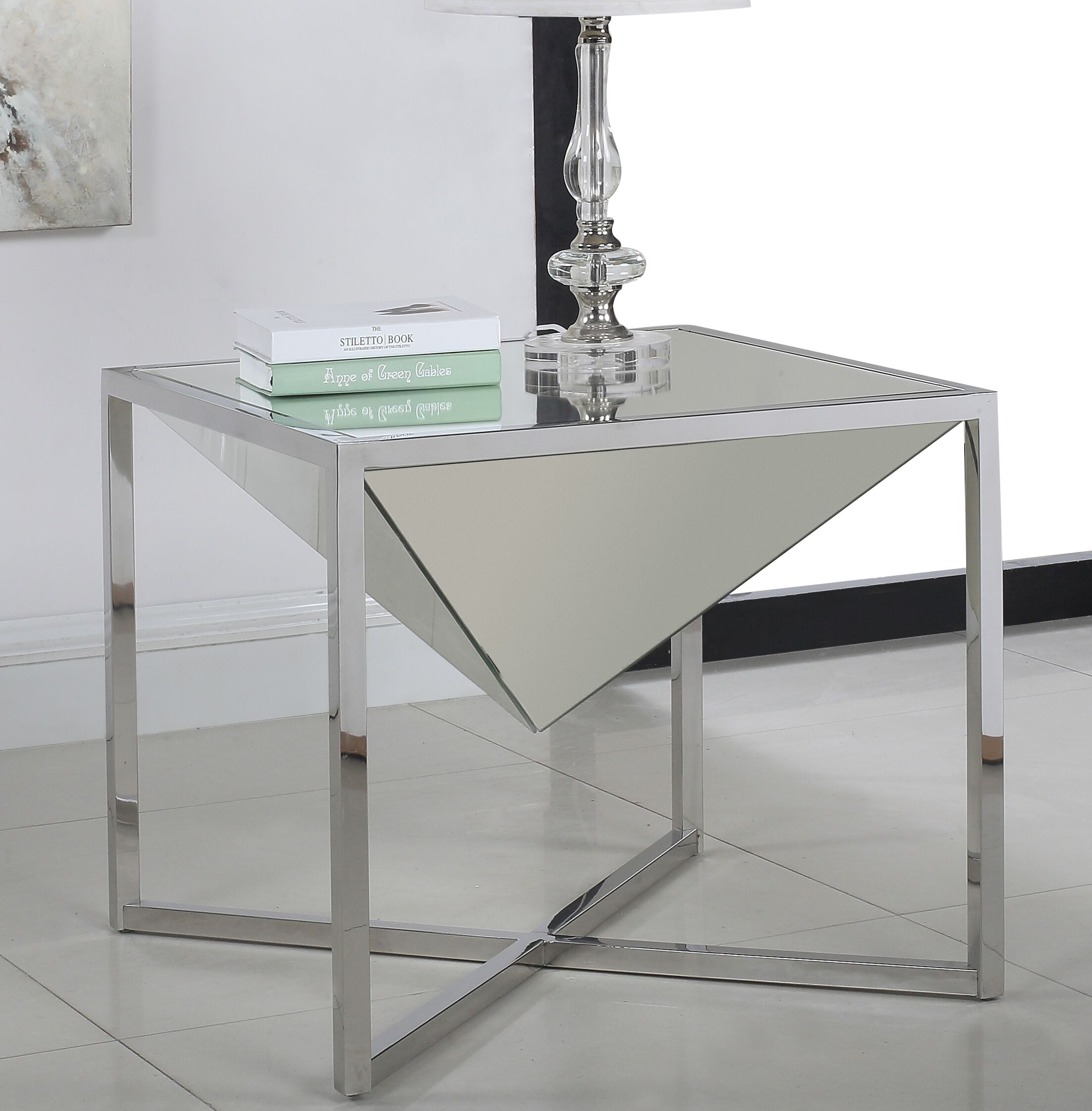 Trong End Table Table Base Color: Silver