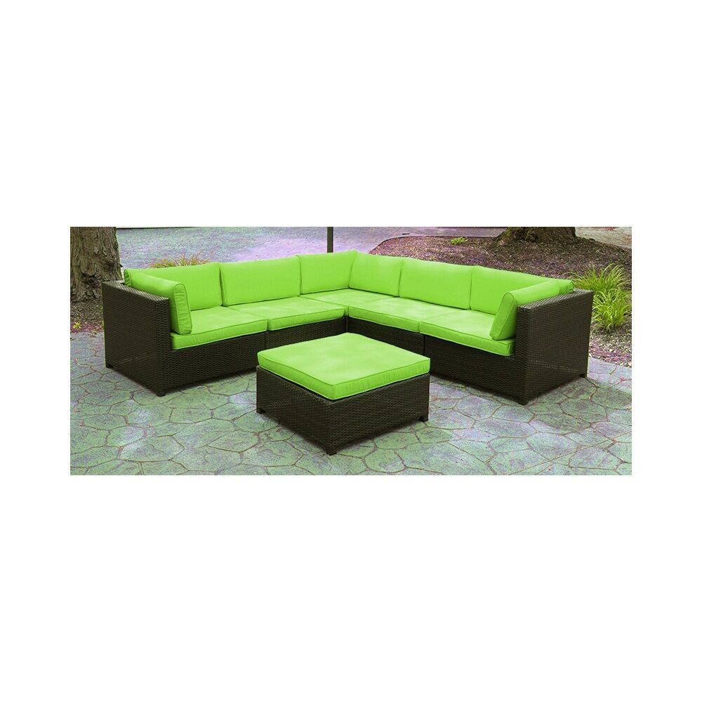 6 Piece Sectional Set with Cushions Fabric: Green