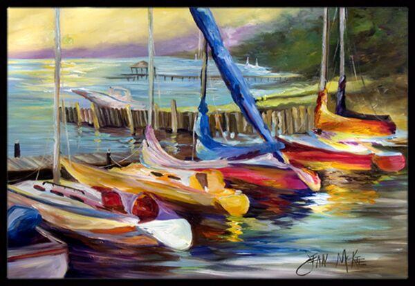 Sailboats At Sunset Doormat Mat Size: Rectangle 2' x 3'