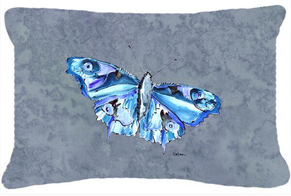 Butterfly Indoor/Outdoor Gray Throw Pillow
