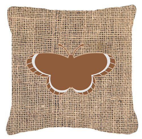 Butterfly Graphic Print Burlap Indoor/Outdoor Throw Pillow Size: 18
