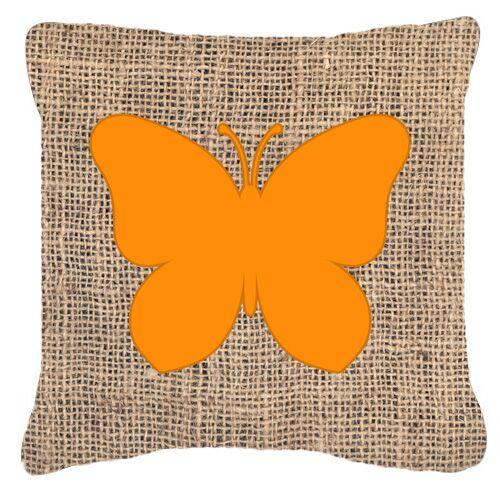 Butterfly Burlap Fade Resistant Indoor/Outdoor Throw Pillow Size: 18