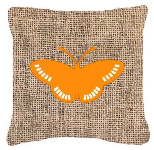 Butterfly Burlap Square Mildew Resistant Indoor/Outdoor Throw Pillow Color: Orange, Size: 14