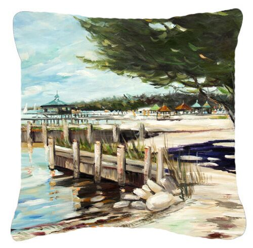 At The Pier Sailboats Indoor/Outdoor Throw Pillow Size: 18