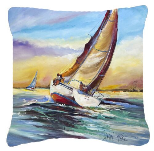 Horn Island Boat Race Sailboats Indoor/Outdoor Throw Pillow Size: 14