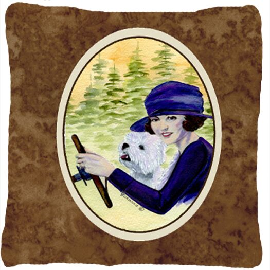 Woman Driving with Her Westie Indoor/Outdoor Throw Pillow