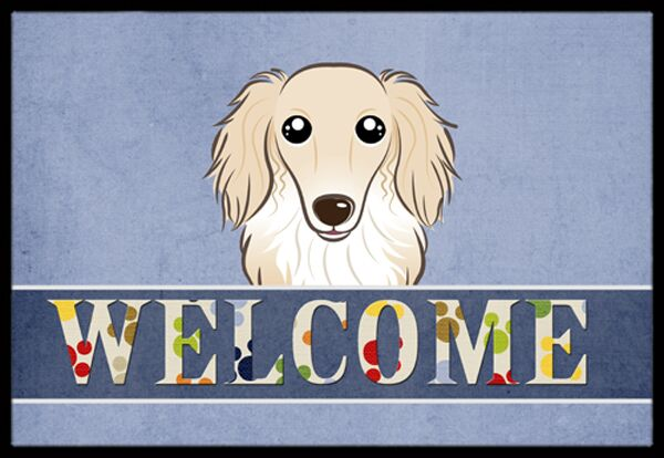 Longhair Dachshund Welcome Doormat Color: Cream, Mat Size: 1'6