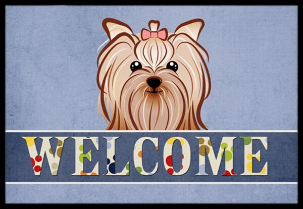 Yorkie Yorkshire Terrier Welcome Doormat Mat Size: 2' x 3'