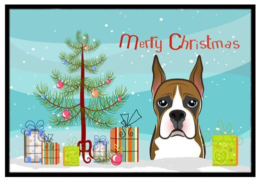 Christmas Tree and Boxer Doormat Mat Size: 2' x 3'