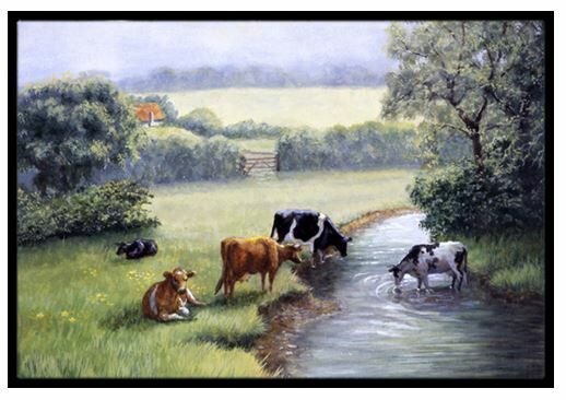 Cows Drinking at the Creek Bank Doormat Mat Size: 2' x 3'