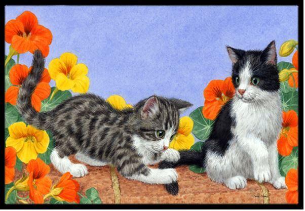 Kittens on Wall Doormat Mat Size: 2' x 3'