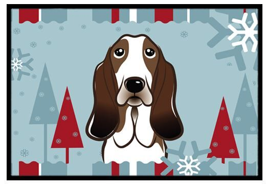 Winter Holiday Basset Hound Doormat Mat Size: 1'6