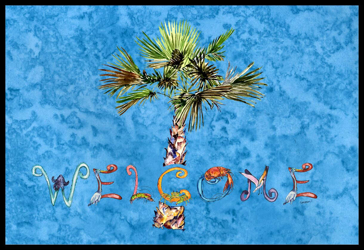 Welcome Palm Tree on Doormat Mat Size: 1'6