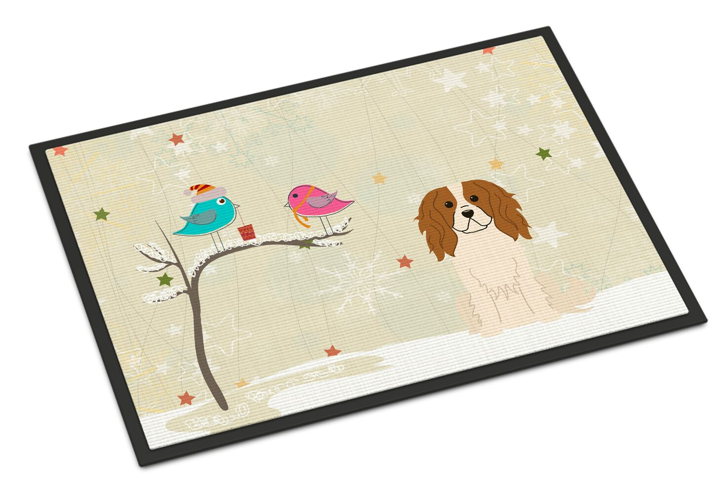 Christmas Presents Between Friends Cavalier Spaniel Doormat Mat Size: Rectangle 2' x 3'