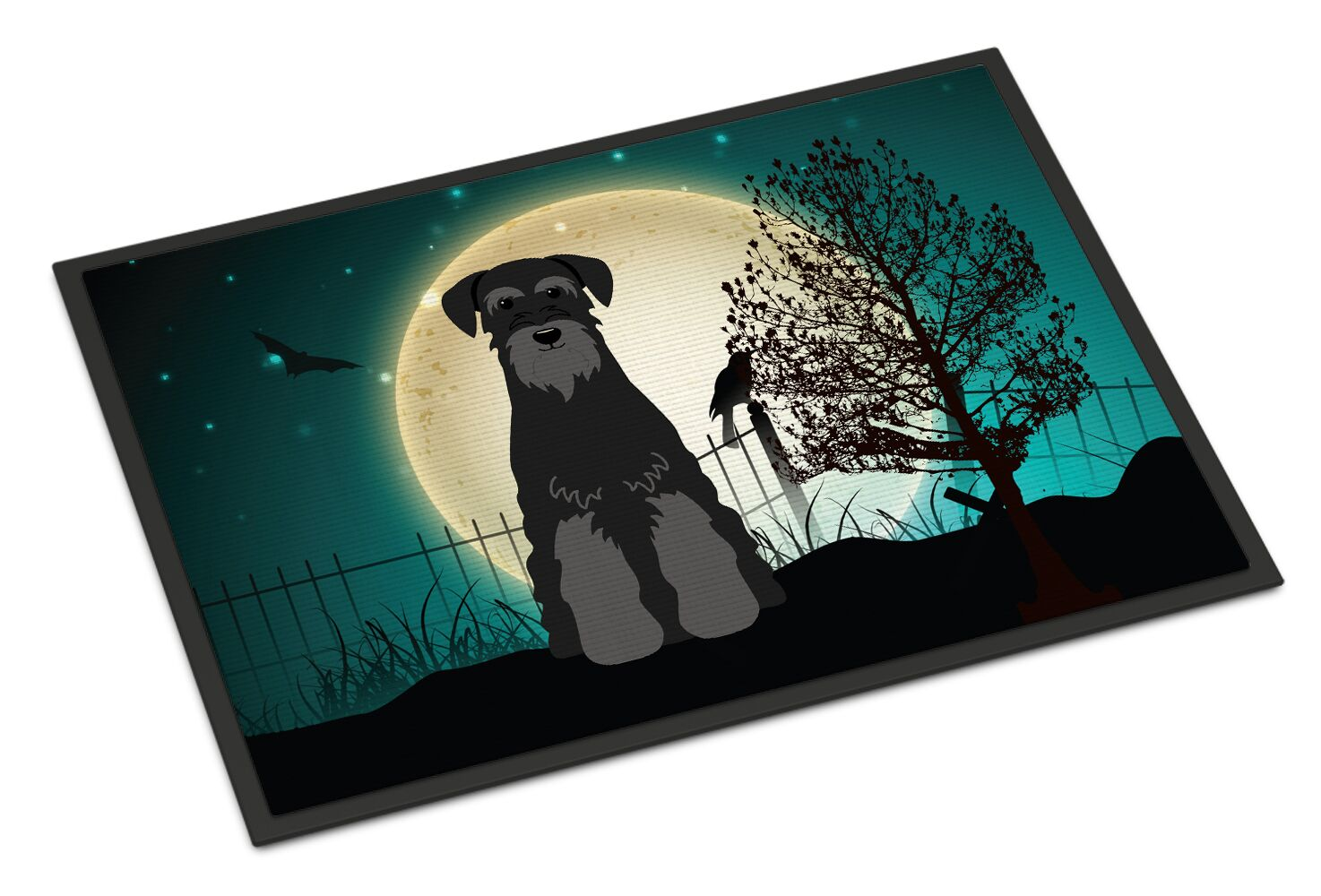 Halloween Scary Standard Schnauzer Doormat Color: Black/Gray, Mat Size: Rectangle 2' x 3'