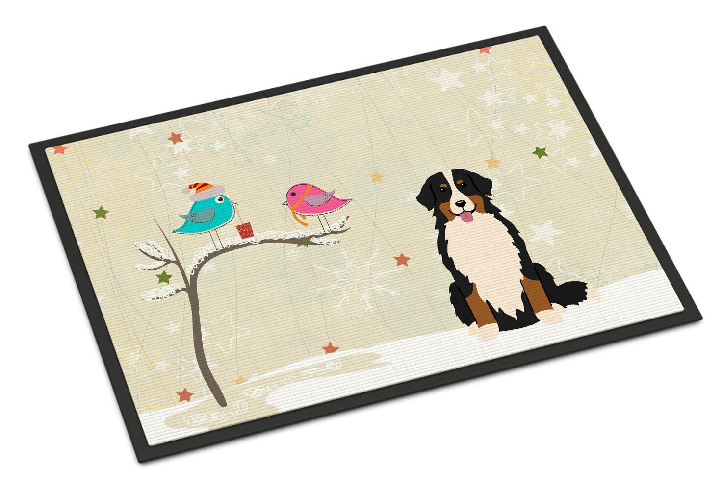 Christmas Presents Between Friends Bernese Mountain Dog Doormat Mat Size: Rectangle 1'6