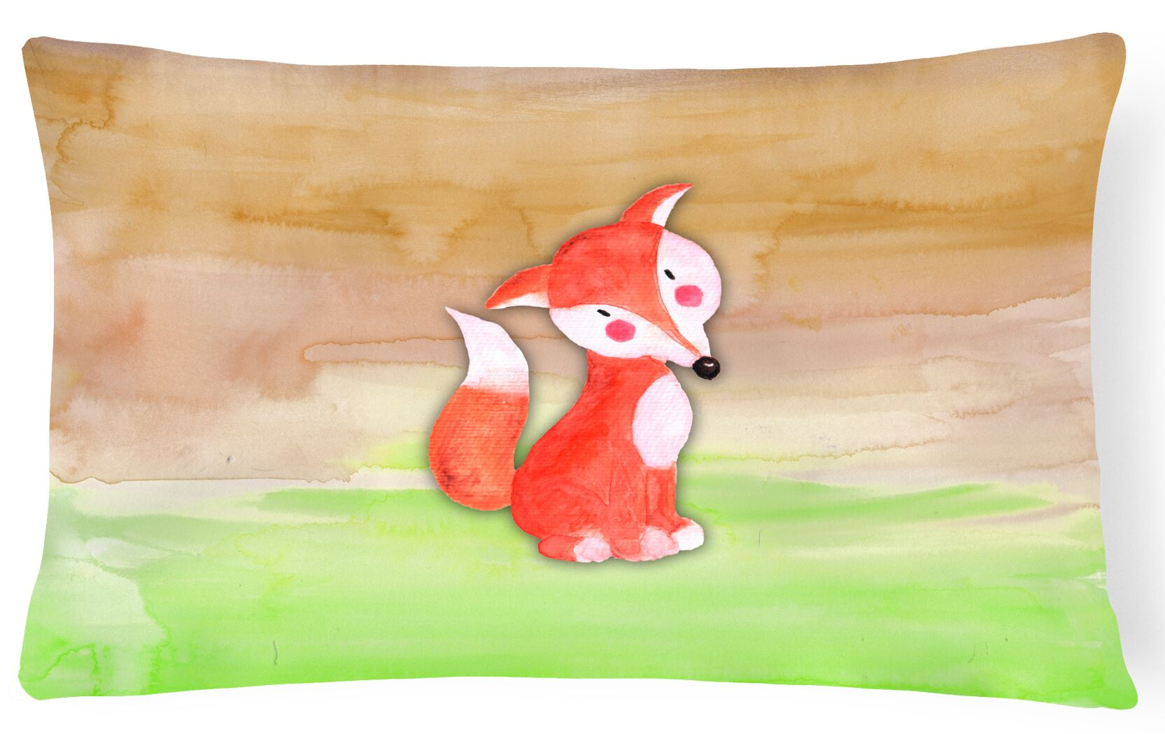 Viola Fox Watercolor Lumbar Pillow