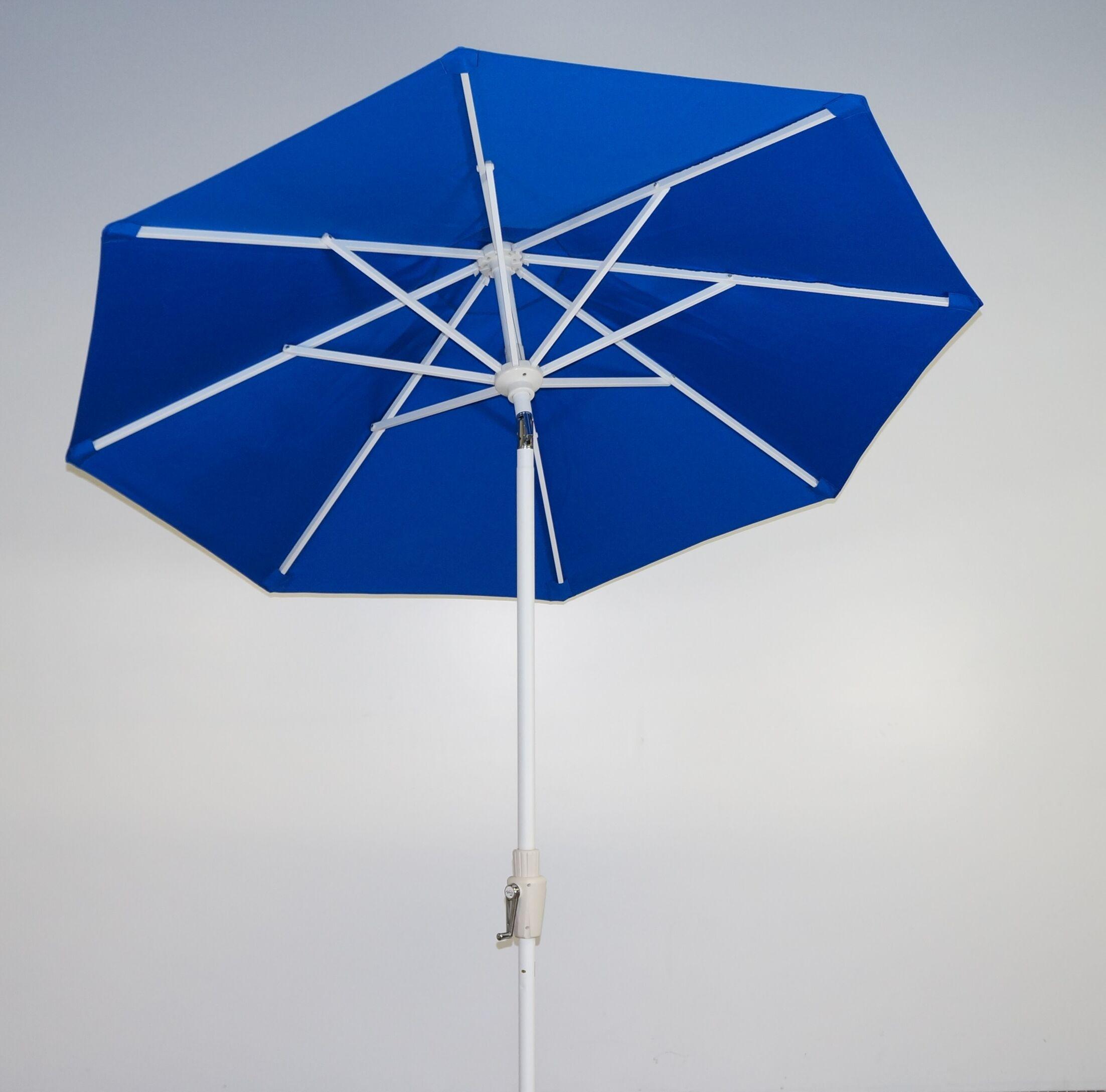 7.5' Market Umbrella Fabric: Pacific Blue, Frame Finish: Licorice