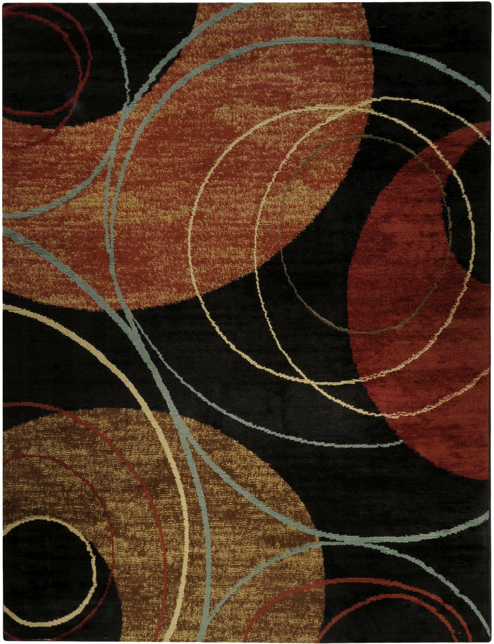 Hinson Interlock Circles Contemporary Black Area Rug Rug Size: 7'10