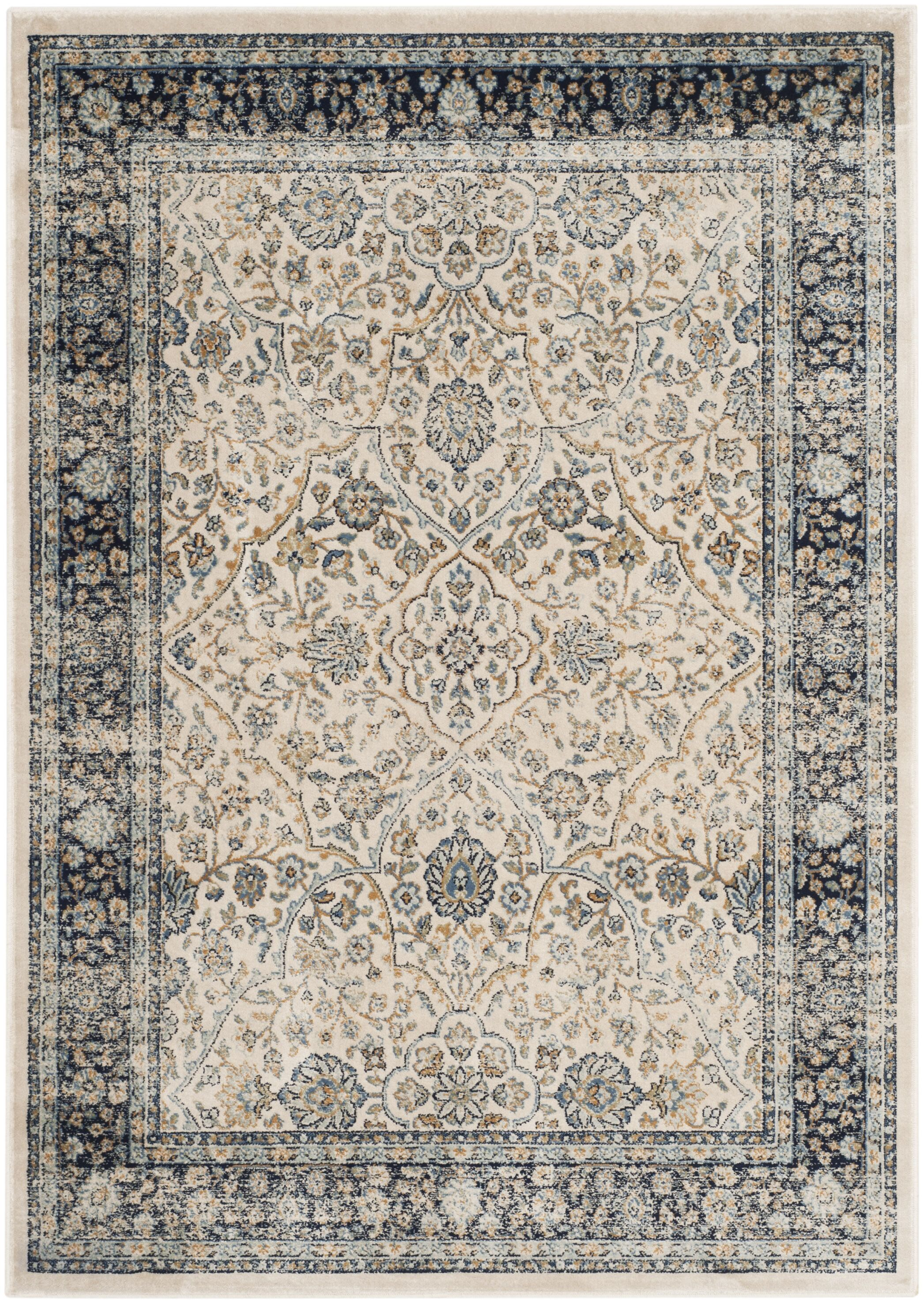 Persian Garden Vintage Ivory/Navy Area Rug Rug Size: Rectangle 6'7