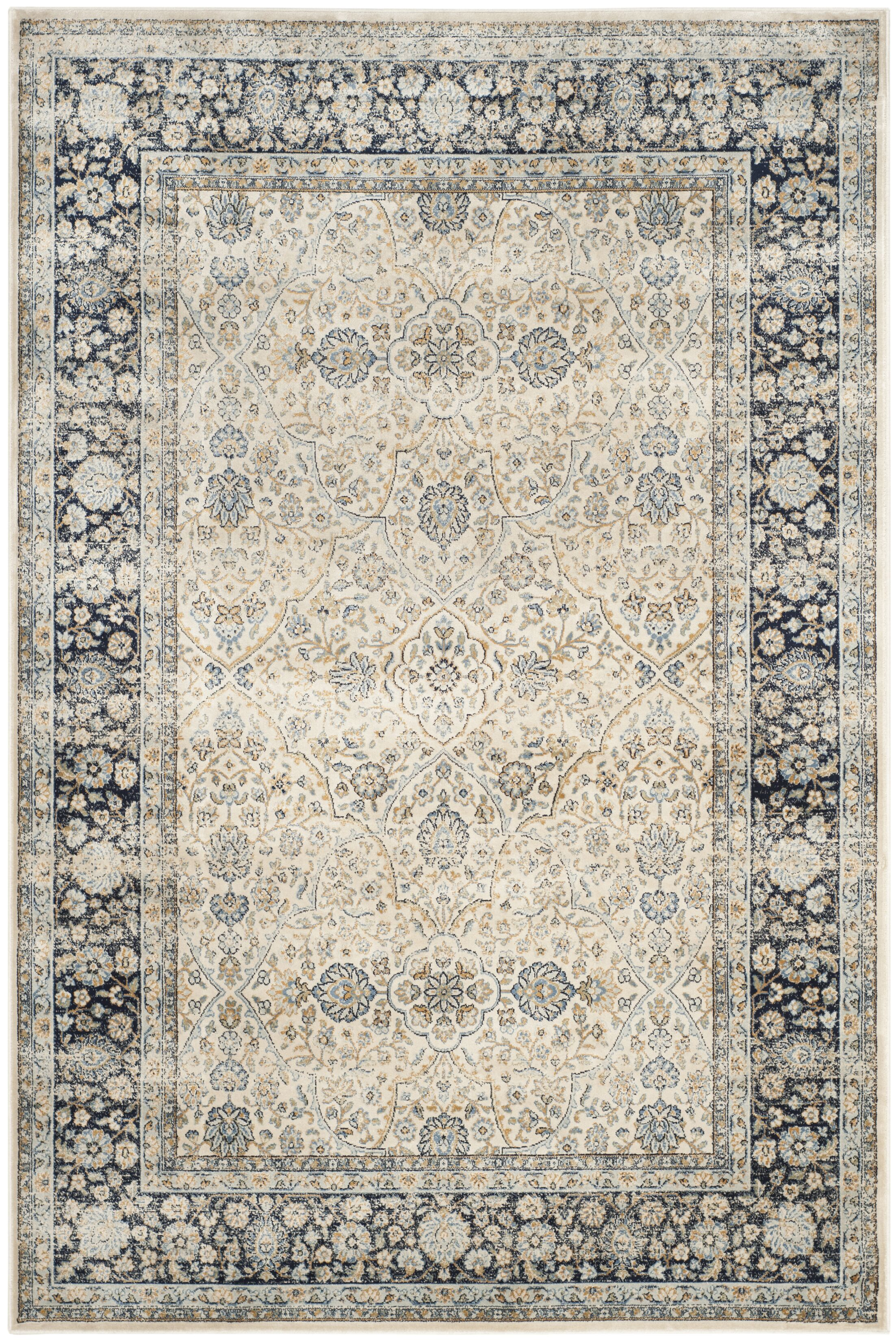 Persian Garden Vintage Ivory/Navy Area Rug Rug Size: Rectangle 5'3