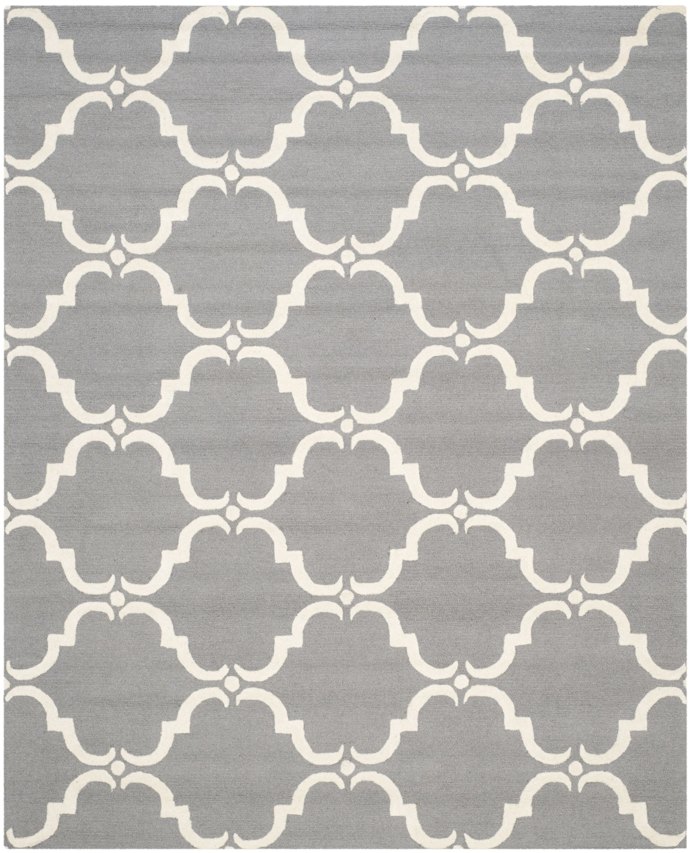 Cambridge Tufted Wool Dark Gray/Ivory Area Rug Rug Size: Rectangle 8' x 10'