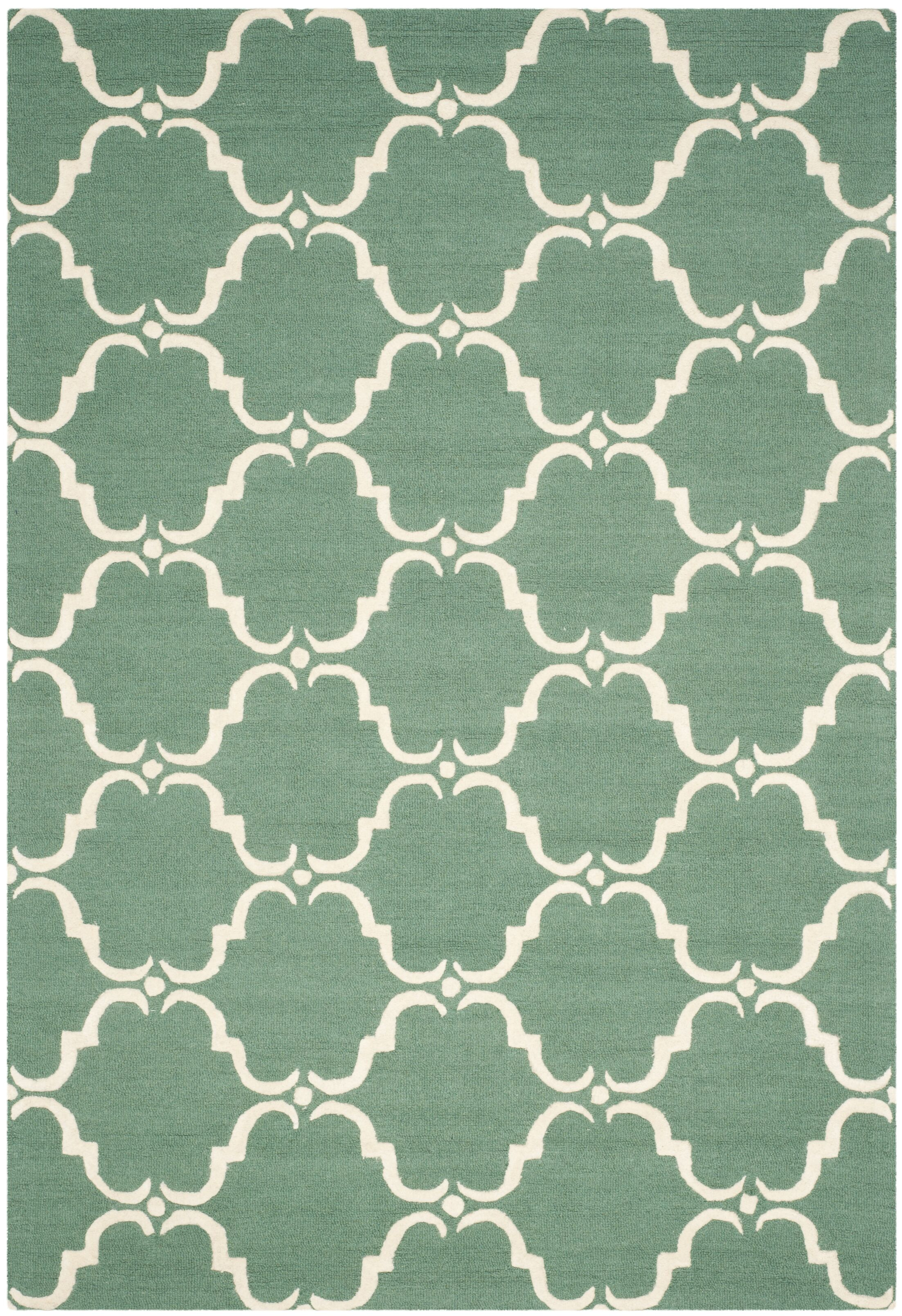Cambridge Tufted Wool Teal/Ivory Area Rug Rug Size: Rectangle 9' x 12'