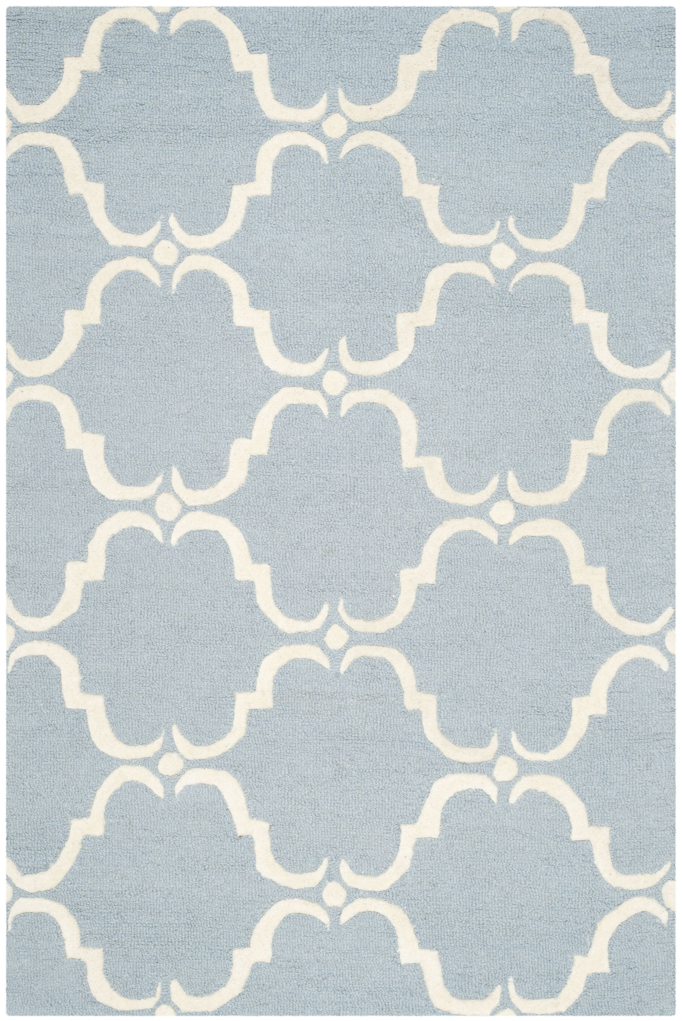 Cambridge Tufted Wool Blue/Ivory Area Rug Rug Size: Runner 2'6