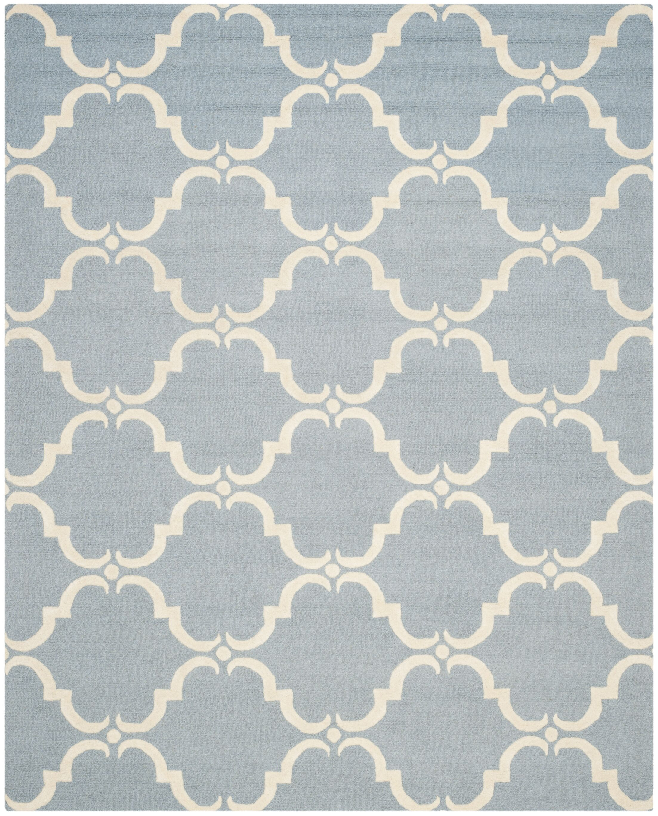 Cambridge Tufted Wool Blue/Ivory Area Rug Rug Size: Rectangle 8' x 10'
