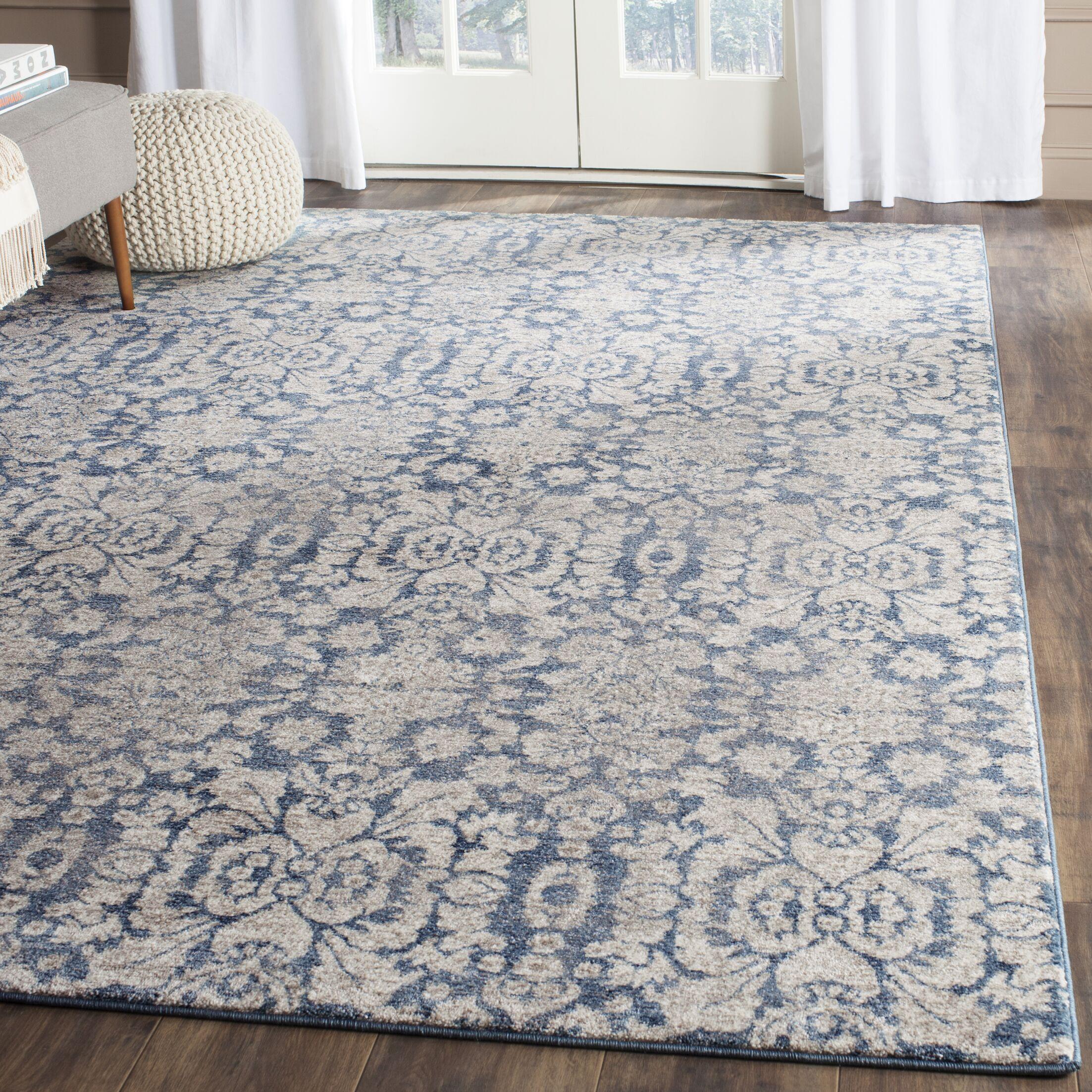 Sofia Blue/Beige Area Rug Rug Size: Rectangle 2' x 3'