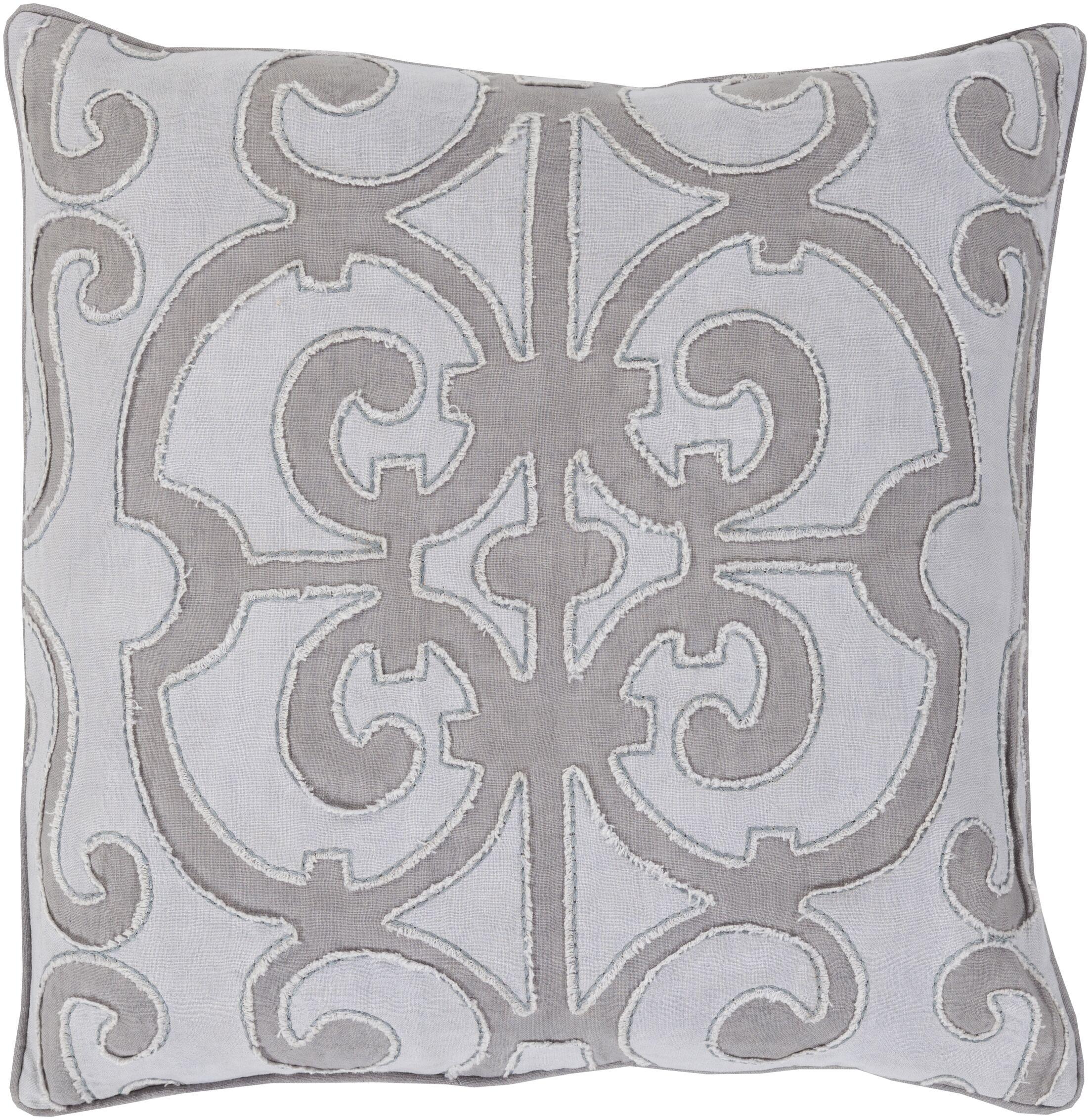 Rushford Linen Throw Pillow Color: Medium Gray/Lavender, Size: 22