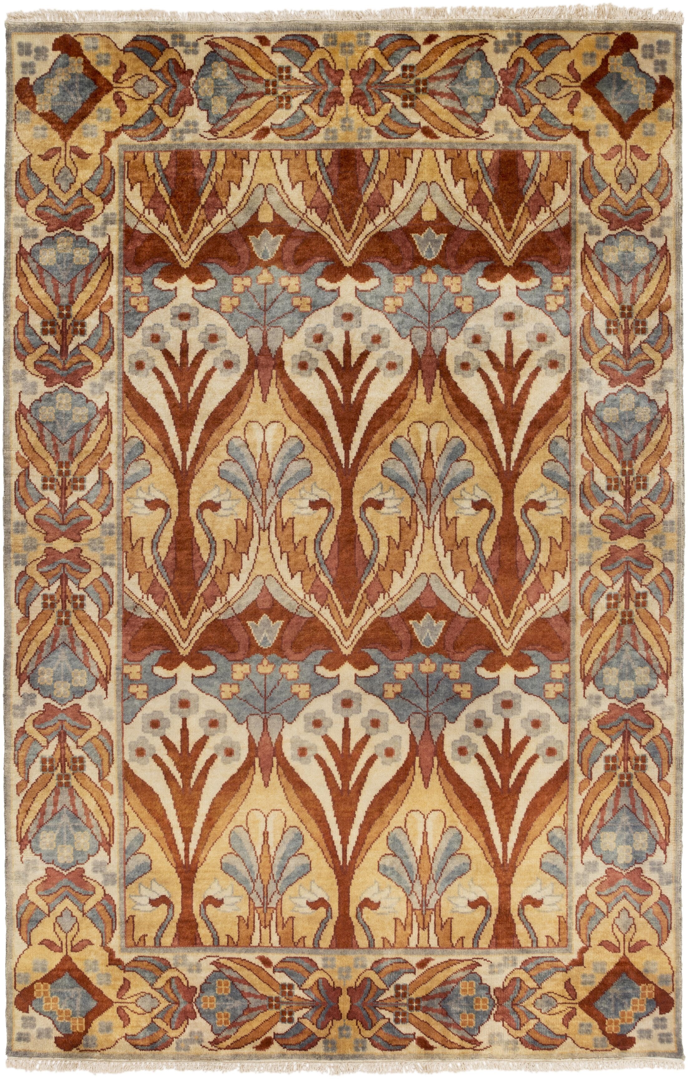 Pritchard Hand Knotted Brown Area Rug Rug Size: Rectangle 5' x 8'