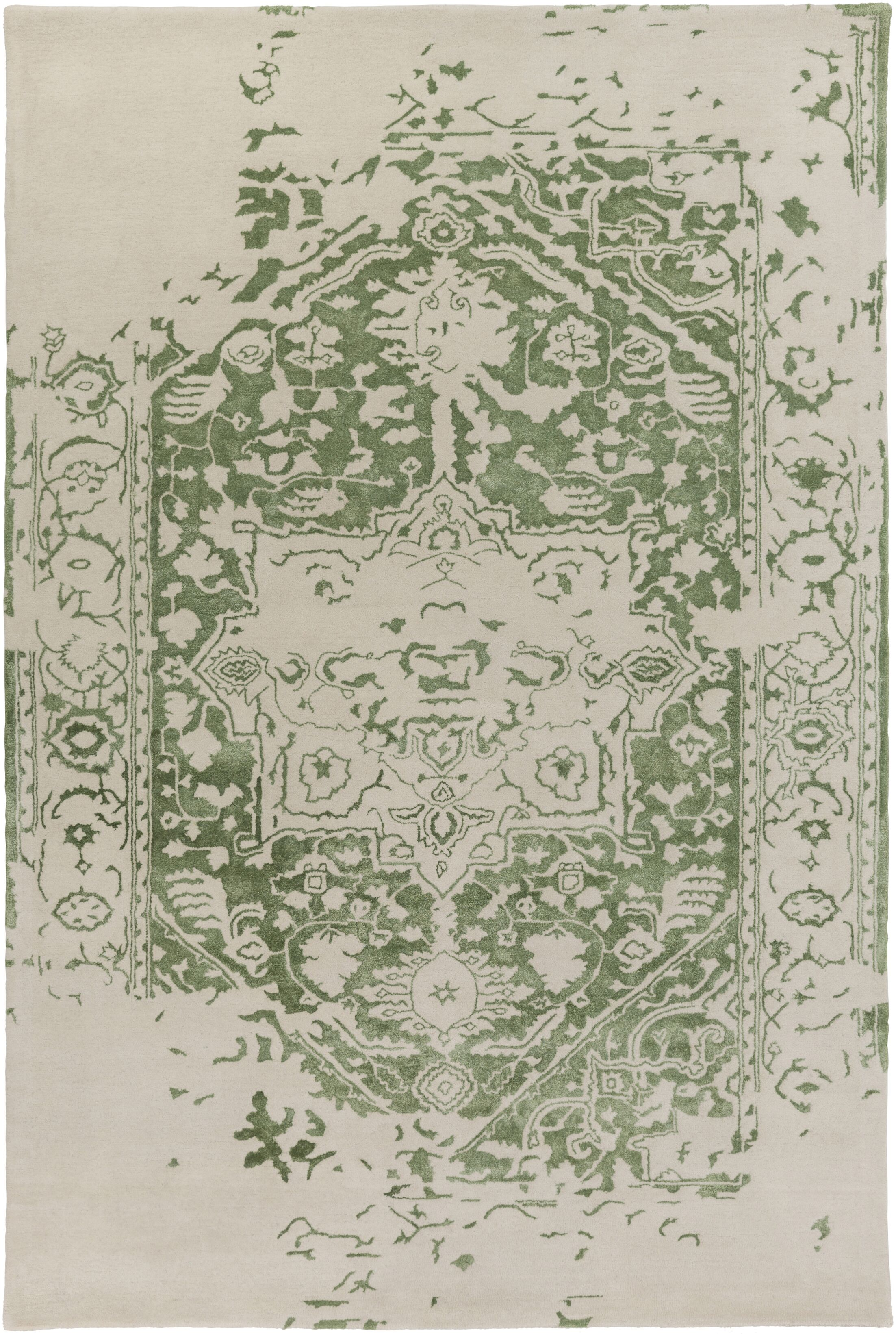 Angeles Hand Tufted Wool Green/Gray Area Rug Rug Size: 12' x 15'