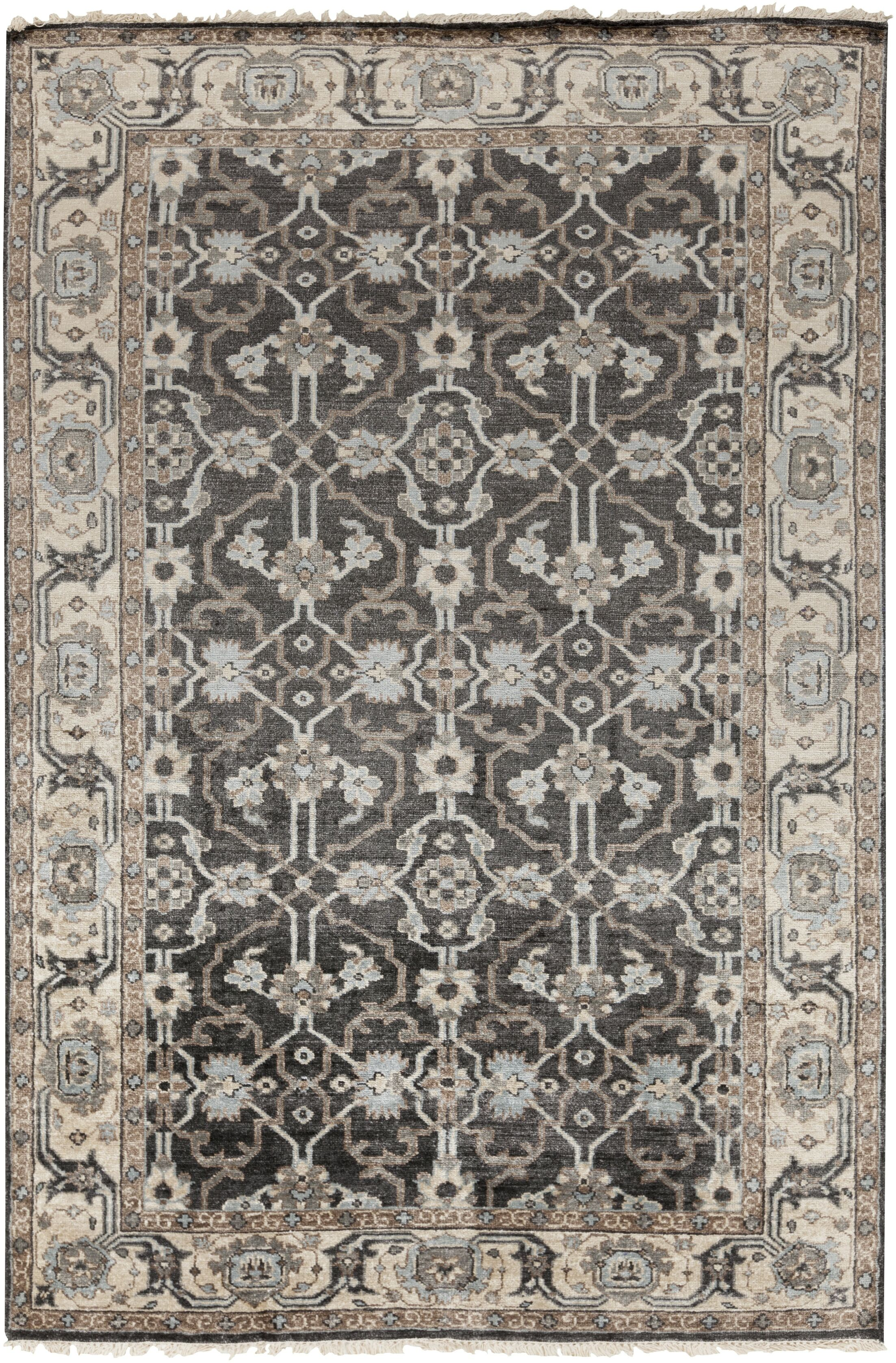 Gullette Hand Knotted Gray Area Rug Rug Size: Rectangle 5' x 8'