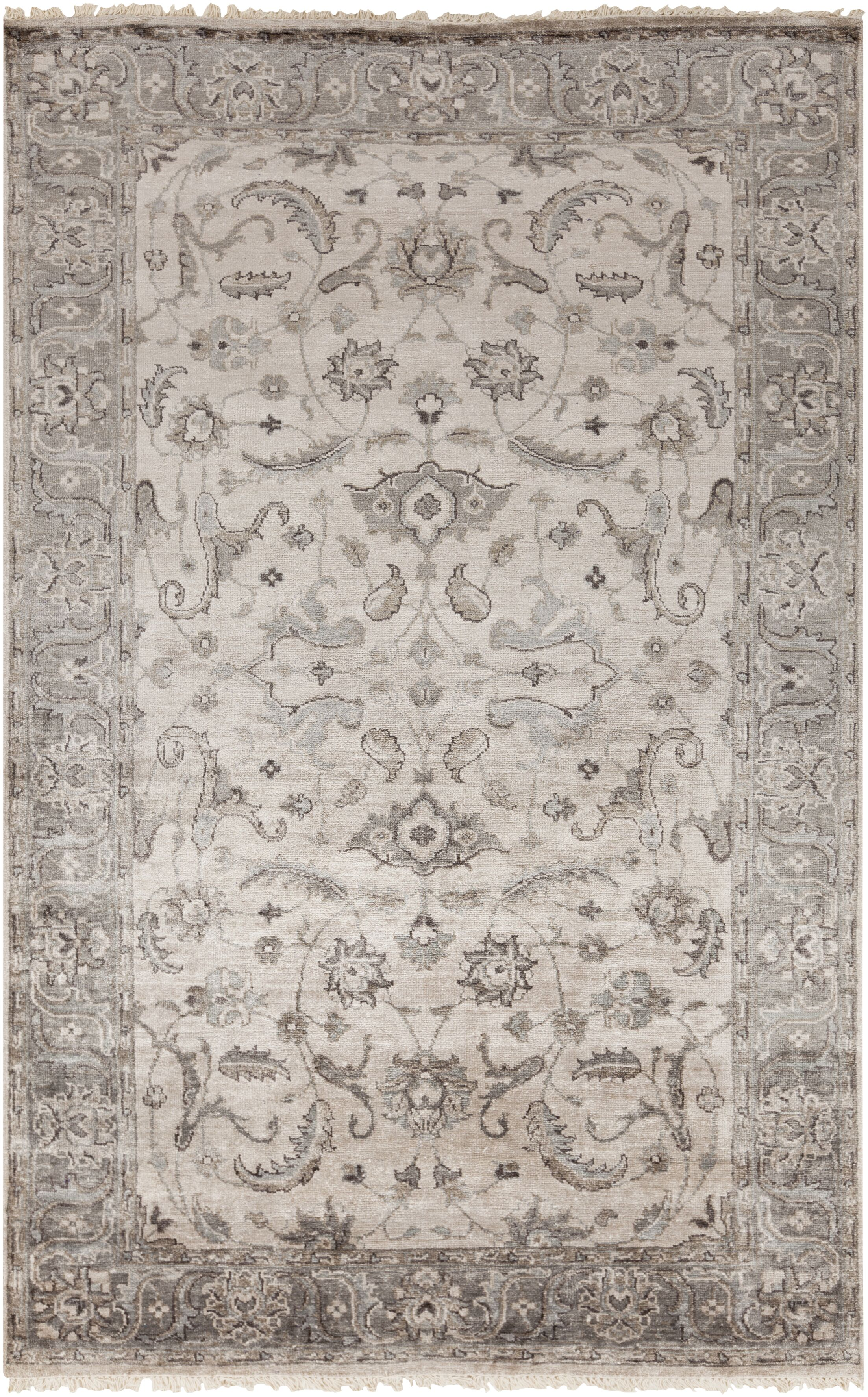 Gullette Hand Knotted Gray Area Rug Rug Size: Rectangle 6' x 9'