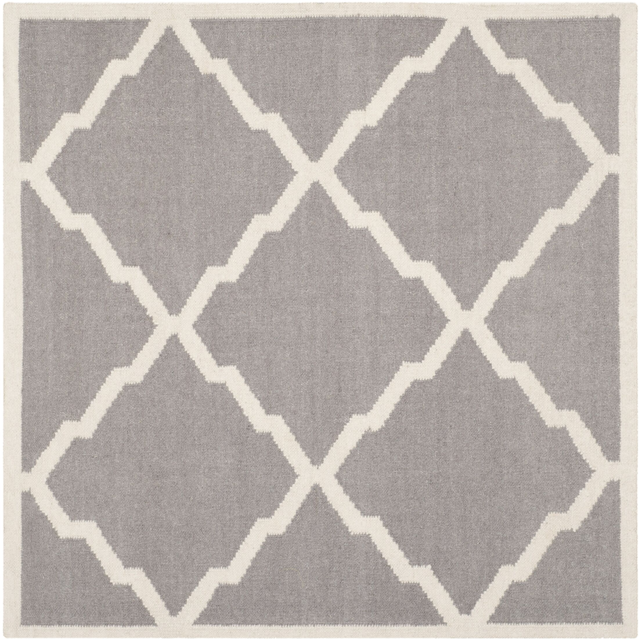 Brambach Hand-Woven Wool Grey/Ivory Area Rug Rug Size: Rectangle 4' x 4'